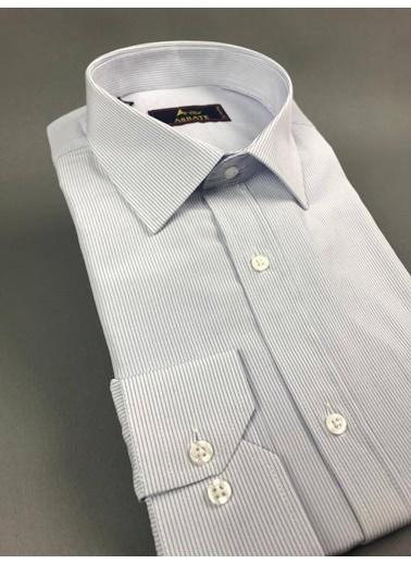 Abbate Kolay Ütülenır Klasık Yaka Çızgılı Regular Fıt Ceplı Gömlek Antrasit